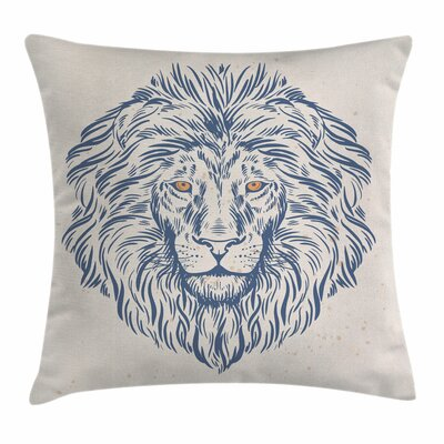 Lion Animal Portrait Wildlife Square Pillow Cover Size: 18