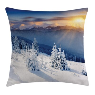 Winter Sunrise at Mountain Square Pillow Cover Size: 18 x 18