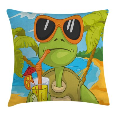 Cool Turtle Drinking Cocktail Square Pillow Cover Size: 16 x 16