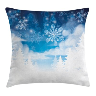 Winter Snowflakes and Stars Square Pillow Cover Size: 16 x 16