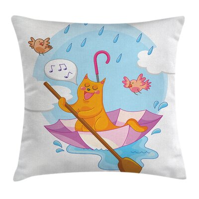 Cat Cartoon Animal Kids Birds Square Pillow Cover Size: 18 x 18
