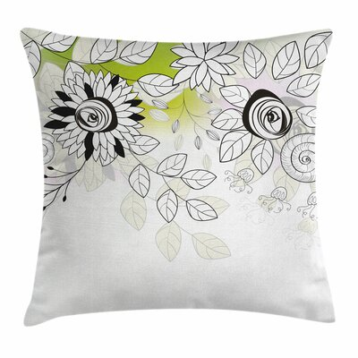 Artsy Wild Field Plants Square Pillow Cover Size: 18 x 18