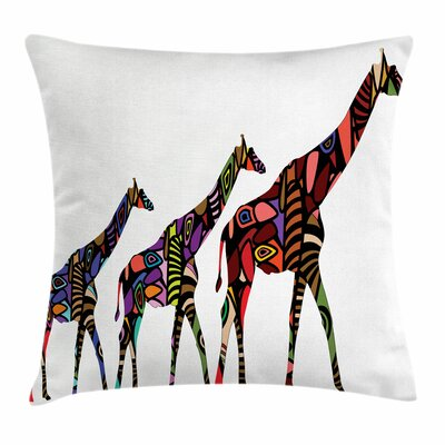 Zoo African Ethnic Giraffes Square Pillow Cover Size: 16 x 16