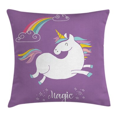 Unicorn Kids Rainbow Square Pillow Cover Size: 16 x 16