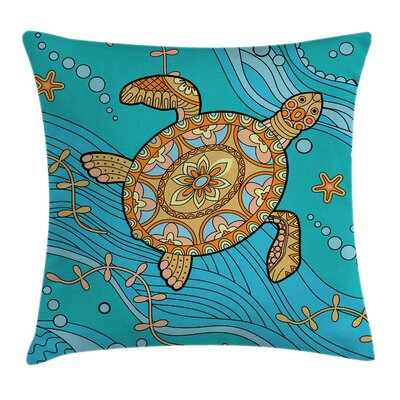Turtle Artistic Doodle Water Square Pillow Cover Size: 16 x 16