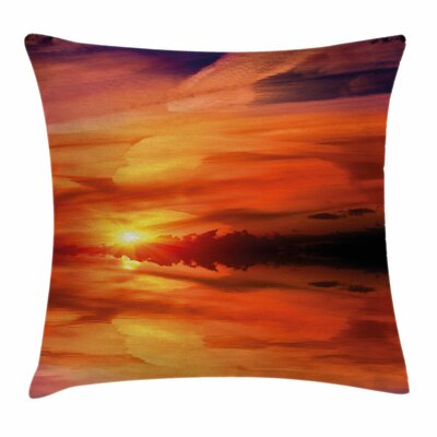 Dramatic Sunset Lake Square Pillow Cover Size: 18 x 18