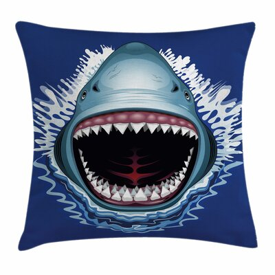 Shark Attack Open Mouth Bite Square Pillow Cover Size: 18 x 18
