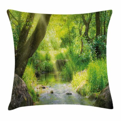 Forest Stream Cascade Tropical Square Pillow Cover Size: 18 x 18