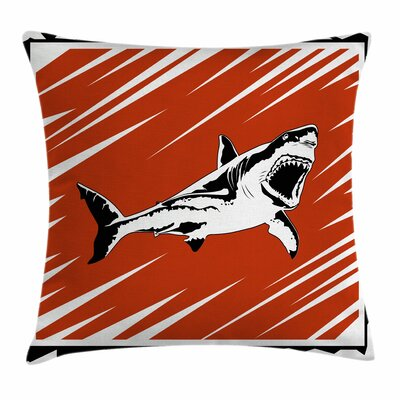 Shark Killer Ocean Creature Square Pillow Cover Size: 16 x 16
