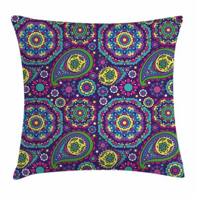 Purple Mandala Ethnic Paisley Square Pillow Cover Size: 16 x 16