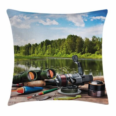 Fishing Tackle Square Pillow Cover Size: 16 x 16