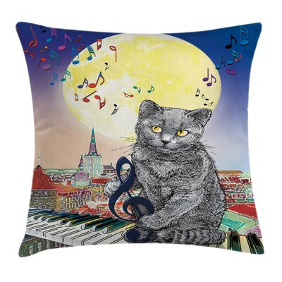City Decor Musical Notes Cat Square Pillow Cover Size: 24 x 24
