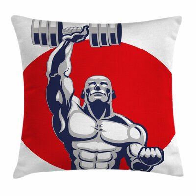 Fitness Muscular Man Lifting Square Pillow Cover Size: 16 x 16