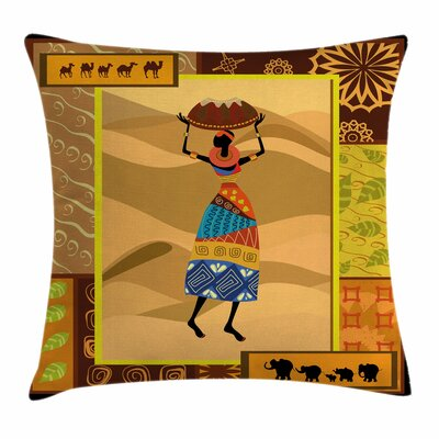 African Woman Camels Elephants Square Pillow Cover Size: 18 x 18