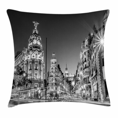 Madrid at Night Square Pillow Cover Size: 16 x 16
