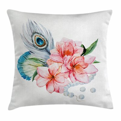 Shabby Elegance Decor Peony Peacock Square Pillow Cover Size: 16 x 16