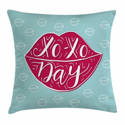 Xo Decor Sexy Woman Lips Phrase Square Pillow Cover Size: 24 x 24
