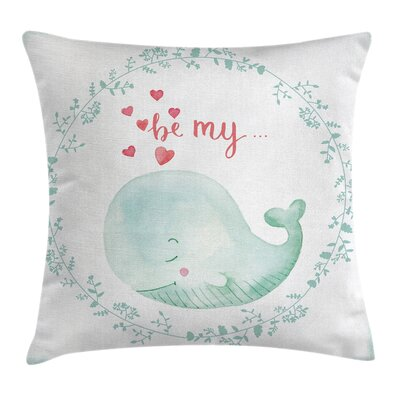 Whale Be My Love Romance Floral Square Pillow Cover Size: 18 x 18