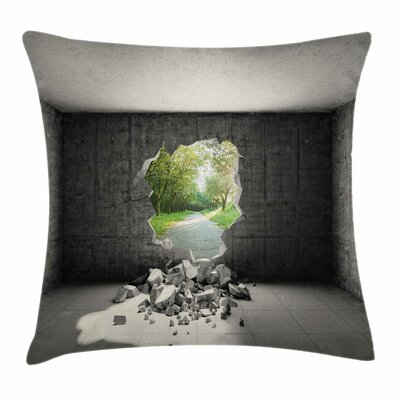 Concrete Room Hole Exit Square Pillow Cover Size: 18 x 18