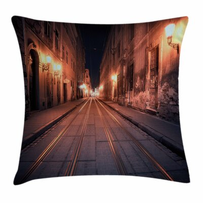 Urban Old European City Streets Square Pillow Cover Size: 24 x 24