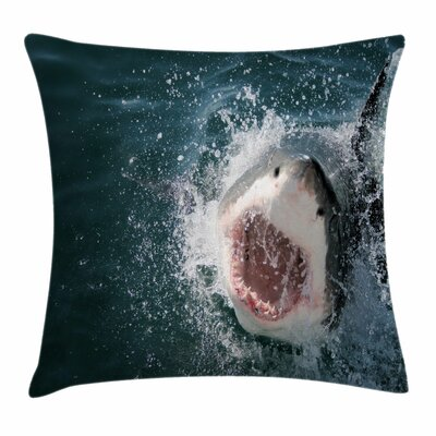 Shark Scary Open Mouth Teeth Square Pillow Cover Size: 16 x 16