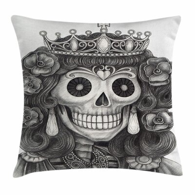 Skull Dead Queen Jewels Flowers Square Pillow Cover Size: 24 x 24