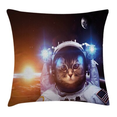 Space Cat Sun Lunar Eclipse Square Pillow Cover Size: 16 x 16