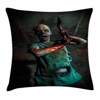 Zombie Decor Scary Creature Square Pillow Cover Size: 24 x 24