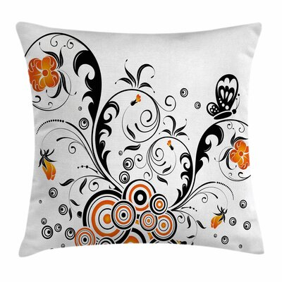 Garden Decor Flower Butterflies Square Pillow Cover Size: 20 x 20