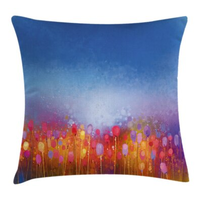 Tulip Garden Watercolor Square Pillow Cover Size: 16 x 16