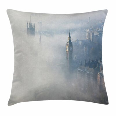 Modern Foggy London Skyline Square Pillow Cover Size: 16 x 16