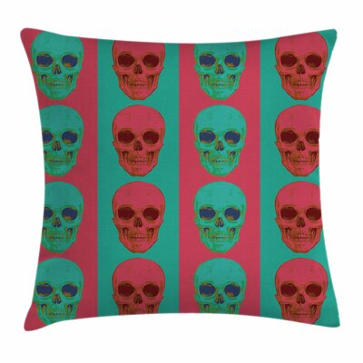 Modern Skull Artistic Gothic Square Pillow Cover Size: 16 x 16