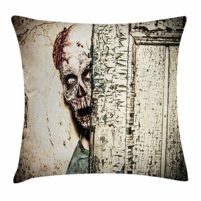 Zombie Decor Old House Vampire Square Pillow Cover Size: 18 x 18