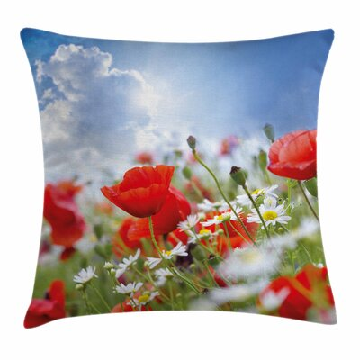 Country Decor Spring Meadow Square Pillow Cover Size: 18 x 18