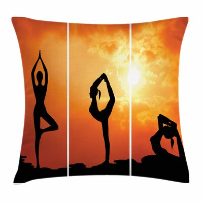 Yoga Women Practice at Sunset Square Pillow Cover Size: 16 x 16