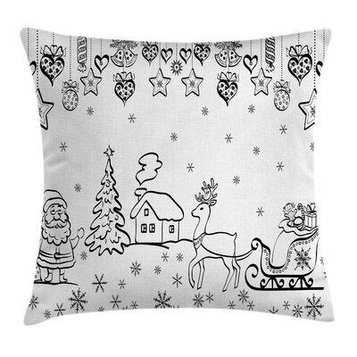 Christmas Tree Reindeer Santa Square Pillow Cover Size: 16 x 16