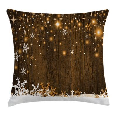 Christmas Wood and Snowflakes Square Pillow Cover Size: 18 x 18