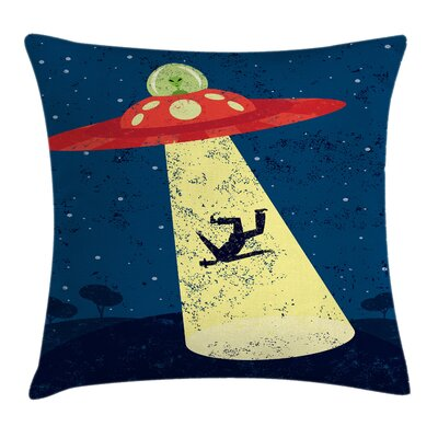 Cartoon Alien Abduction Space Square Pillow Cover Size: 16 x 16