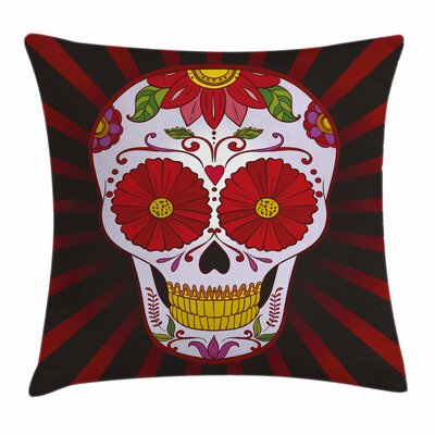 Sugar Skull Catrina Art Ornate Square Pillow Cover Size: 16 x 16