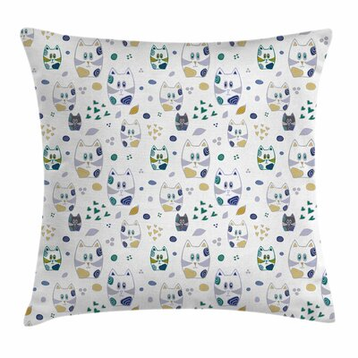 Cat Cute Childish Hearts Spiral Square Pillow Cover Size: 16 x 16