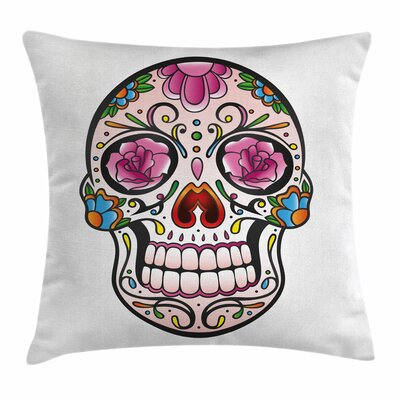 Sugar Skull Roses Spooky Square Pillow Cover Size: 24 x 24