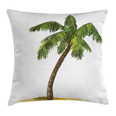 Tropical Cartoon Palm Trees Square Pillow Cover Size: 16 x 16