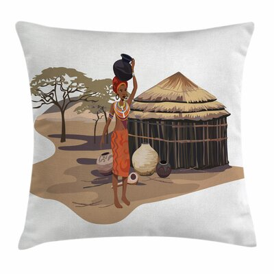 African Woman Woman with Pot Square Pillow Cover Size: 24 x 24