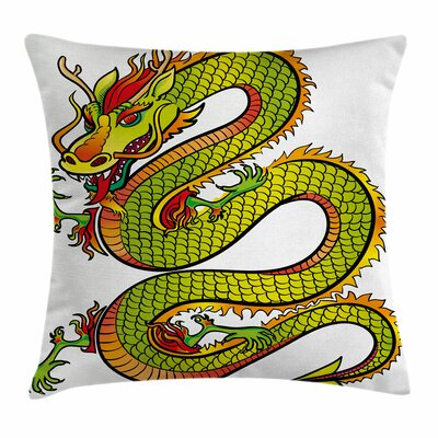 Dragon Retro Ancient Folk Myth Square Pillow Cover Size: 18 x 18