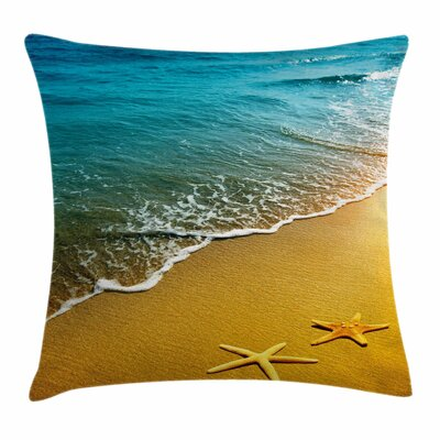 Starfish Decor Summer Sunset Square Pillow Cover Size: 24 x 24
