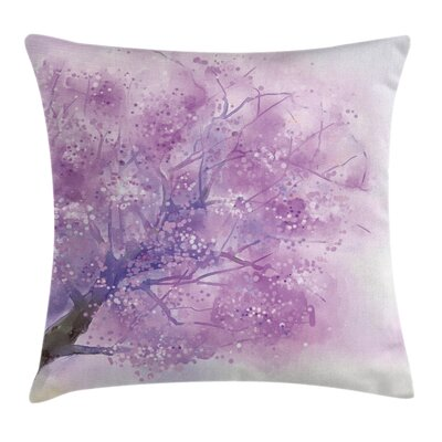 Sakura Tree Springtime Square Pillow Cover Size: 24 x 24