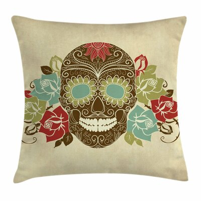 Sugar Skull Vintage Gothic Face Square Pillow Cover Size: 18 x 18