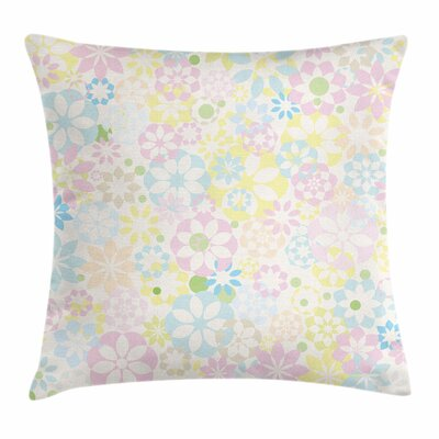 Pastel Blooming Flowers Spring Square Pillow Cover Size: 16 x 16