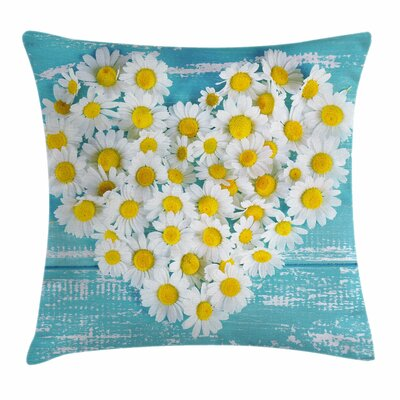 Heart Shaped Daisy Square Pillow Cover Size: 24 x 24