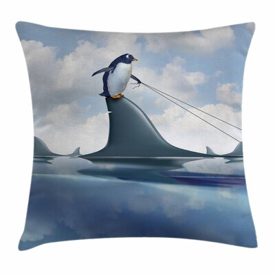 Shark Penguin Holding Wild Fish Square Pillow Cover Size: 18 x 18